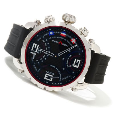 617-815 - Infrared® Men's Red Regatta Swiss Mechatronic Quartz Chronograph Rubber Strap Watch