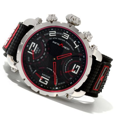 617-817 - Infrared® Men's Red Marathon Swiss Mechatronic Quartz Chronograph Nylon Strap Watch