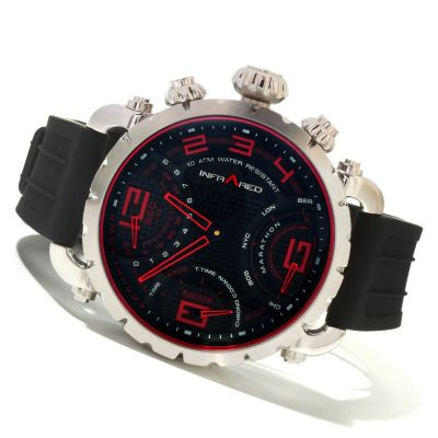 617-818 - Infrared® Men's Red Marathon Swiss Mechatronic Quartz Chronograph Rubber Strap Watch