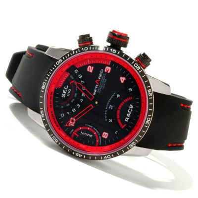 617-821 - Infrared® Men's Red RPM Swiss Mechatronic Quartz Chronograph Rubber Strap Watch