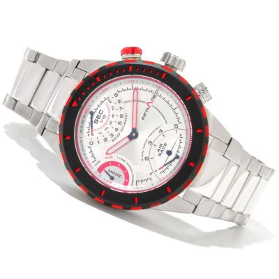 617-822 - Infrared® Men's Red Out Swiss Quartz Mechatronic Chronograph Bracelet Watch