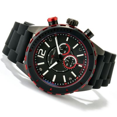 617-824 - Infrared® Men's Red Mission Quartz Chronograph Rubber Strap Watch