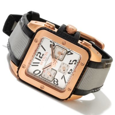 617-861 - Invicta Women's Cuadro Quartz GMT Stainless Steel Case Leather & Nylon Strap Watch