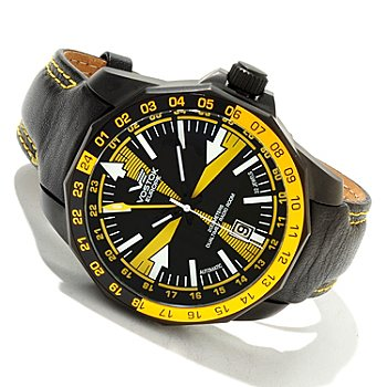 617-863 - Vostok-Europe Men's Radio Room Limited Edition Automatic Dual Time Leather Strap Watch