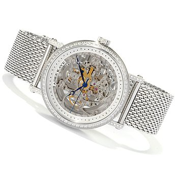 617-868 - Adee Kaye Men's Automatic Skeletonized Dial Stainless Steel Bracelet Watch