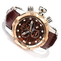 INVICTA RESERVE MID VENOM SWISS CHRONOGRAPH LEATHER STRAP WATCH