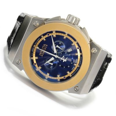 617-928 - Invicta Reserve Men's Akula Swiss Made Quartz Chronograph Leather Strap Watch