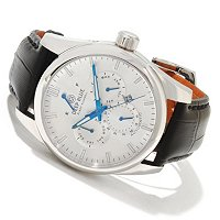 DEEP BLUE MEN'S FLEET ADMIRAL AUTOMATIC FULL CALENDAR LEATHER STRAP WATCH
