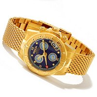 INVICTA WOMENS SEA WIZARD QUARTZ GMT/ALARM STAINLESS MESH BRACELET WATCH