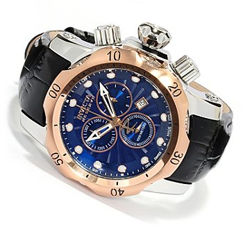 618-003 - Invicta Reserve Venom Swiss Made Quartz Chronograph Leather Strap Watch