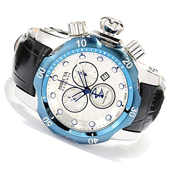 618-004 - Invicta Reserve Venom Swiss Made Quartz Chronograph Leather Strap Watch