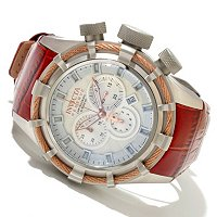 INVICTA RESERVE MEN'S BOLT SPORT ELEGANT QUARTZ CHRONO LEATHER STRAP WATCH