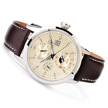 618-010 - S.Coifman Men's Swiss Made Quartz GMT Stainless Steel Leather Strap Watch