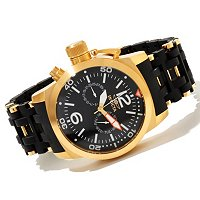 TTV INVICTA MEN'S SEA SPIDER QUARTZ DAY & DATE POLYURETHANE BRACLEET WATCH