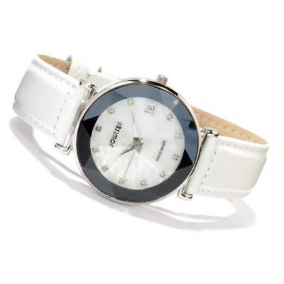 618-090 - Jowissa Women's Facet Swiss Made Mother-of-Pearl Stainless Steel Strap Watch
