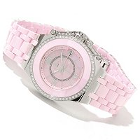 Oniss Women's Ceramic/Stainless Stl Swiss Crystal Acc. MOP Dial Bracelet Watch