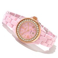 Oniss Women's Ceramic Swiss Movement MOP Dial Crystal Accented Bracelet Watch