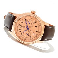 S. COIFMAN MEN'S QUARTZ MULTIFUNCTION STAINLESS CASE LEATHER STRAP WATCH