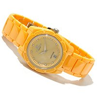 Oniss Women's Ceramic Swiss MOP Dial Crystal Accented Bracelet Watch