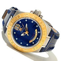 INVICTA MID SUBAQUA SPORT SWISS QUARTZ BIG DATE RETROGRADE LEATHER STRAP WATCH
