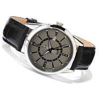 INVICTA MEN'S VINTAGE QUARTZ GMT LEATHER STRAP WATCH