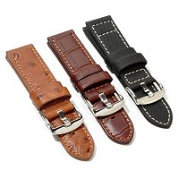 3 Pc Strap Set: 24 mm Sim Ostrich, Square Crocodile & Polyfiber Strap