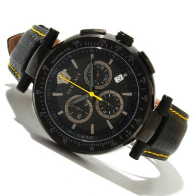 618-567 - Versace Men's Mystique Swiss Made Quartz Chronograph Leather Strap Watch