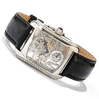 CONSTANTIN WEISZ WOMAN_S HANDWINDING CRYSTAL ACCENTED SKELETONIZED STRAP WATCH