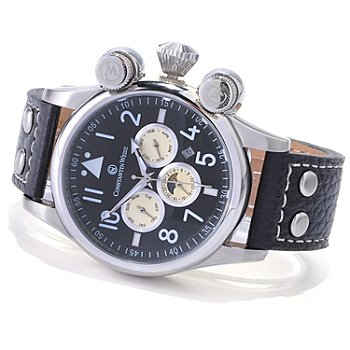 618-649 - Constantin Weisz Men's Automatic Stainless Steel Leather Strap Watch