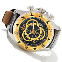 INVICTA RESERVE MENS EXCUSRION ELEGANT SWISS QUARTZ CHRONO LEATHER STRAP WATCH