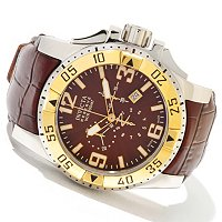 INVICTA RESERVE MEN'S EXCURSION ELEGANT SWISS QUARTZ CHRONO LEATHER STRAP WATCH