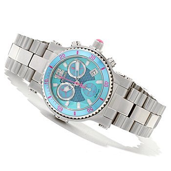 618-845 - Renato Women's Beauty Diver Swiss Chronograph Blue Dial Stainless Steel Bracelet Watch