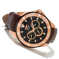 INVICTA MENS PRO DIVER ELEGANT OCEAN QUARTZ MULTI LEATHER STRAP WATCH