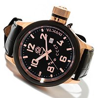 INVICTA MEN'S RUSSIAN DIVER QUARTZ MOVEMENT LEATHER STRAP WATCH