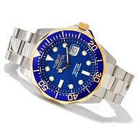 INVICTA MEN'S GRAND DIVER QUARTZ CARBON FIBER DIAL STAINLESS BRACELET WATCH