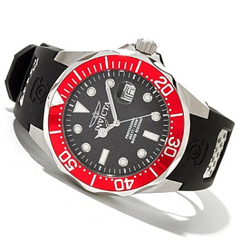 618-997 - Invicta Men's Grand Diver Quartz Stainless Steel Polyurethane Strap Watch w/ 3-Slot Dive Case