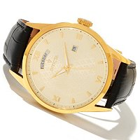 INVICTA MEN'S VINTAGE DAY & DATE QUARTZ LEATHER STRAP WATCH