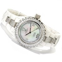 ONISS WOMEN'S CERAMIC CRYSTAL ACCENTED BRACELET WATCH