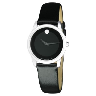 619-253 - Movado Women's Museum Swiss Quartz Round Case Black Leather Strap Watch