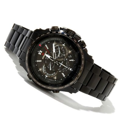 619-353 - Casio Men's Edifice Black Label Solar Power Stainless Steel Bracelet Watch