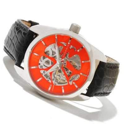 619-355 - Android Men's Impetus Automatic Skeletonized Dial Alligator Strap Watch