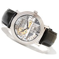 Stuhrling Original Men's Brumalia Bridge Skeleton Mechanical Leather Strap Watch