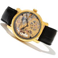 Stuhrling Original Men's Avon Mecahnical Skeleton Leather Strap Watch