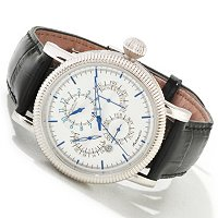 Stuhrling Original Men's Timemaster Symphony Automatic Leather Strap Watch