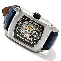 Stuhrling Original Men's Midtown Banker Mechanical Skeleton Leather Strap Watch