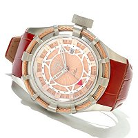 INVICTA RESERVE MEN'S BOLT ELEGANT SWISS GMT LEATHER STRAP WATCH