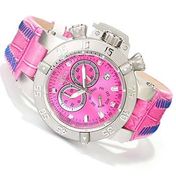 619-495 - Invicta Women's Subaqua Noma III Quartz Chronograph Stainless Steel Leather Strap Watch
