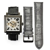 Stuhrling Original Men's Chariot Square Skeleton Automatic Leather Strap Watch
