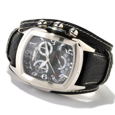 619-540 - Invicta Men's Dragon Lupah Swiss Quartz Chronograph Stainless Steel Leather Strap Watch