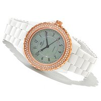 Oniss Women's Ceramic Swiss Day/Date Crystal Accented Bracelet Watch